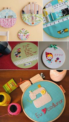Cute embroidery hoop art, part 2 Embroidery Hoop Crafts, Embroidery Art, Embroidery Stitches, Home Crafts, Diy And Crafts, Fabric Wall Decor, Craft Projects, Sewing Projects, Sewing Studio