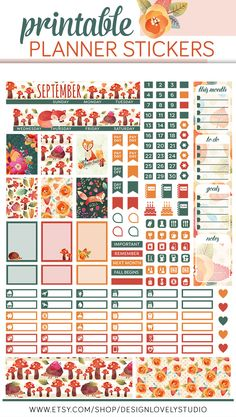 Mini Happy Planner Monthly View Stickers Kit, Printable Stickers including cut files