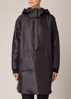 Suzanne Rae Hooded A-Line Parka (Black)