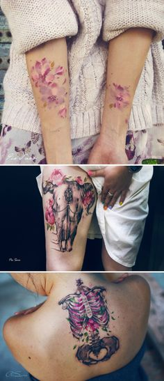 Pis Saro.  #tattoo #ink  Some very cool tattoos. Personally I'm not into pastel pink but I love magenta!