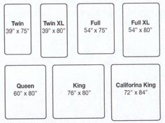 bed size charts - Google Search