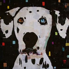 "Dalmatian. Collage on Canvas. 24 x 24"" 2014 mydogcollage.com $1450"