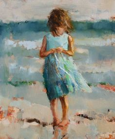 Watercolor, little girl on the beach. Artist unknown.