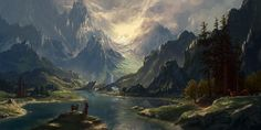 Do Fantasy, Fantasy World, Fantasy Art Landscapes, Fantasy Landscape, Landscape Art, Types Of Fiction, Image Painting, Anime Scenery, Environmental Art