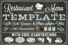 Vector Chalkboard menu Template by FourLeafLover on @creativemarket