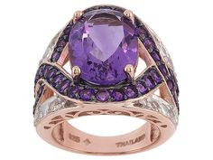 Stratify (Tm) 7.52ctw Brazilian And African Amethyst, White Topaz 18k Rose Gold Over Sterling Ring