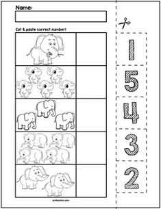 Elephant Cut & Match Worksheets | Numbers 1-5