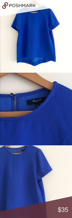 Madewell royal blue blouse Madewell Size large Royal blue loose blouse. Simple polyester formed Blouse. Perfect condition Madewell Tops Blouses