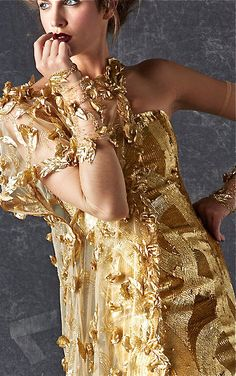 Georges Chakra ~ Couture Highly Embellished Gold Details