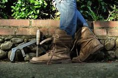 Combat Boots, Army, Collection, Shoes, Fashion, 7 Dwarfs, Female Dwarf, Leather, Over Knee Socks