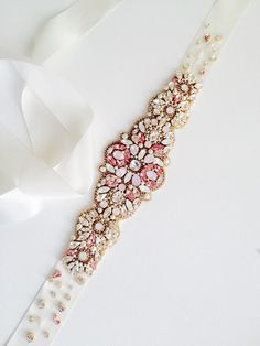 Pink Opal Crystal Bridal Belt-Vintage Wedding-One by KNRHANDMADE