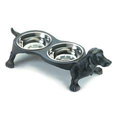 Pet Bowl   Cast Iron Wiener Dog