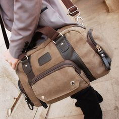 Aliexpress Fashion Coffee Roomy Man Canvas Shoulder Messenger Bag Computer Laptop Compatible Cool Stylish Designer Free Shipping From