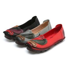 Socofy Color Blocking Leather Phoenix Retro Flat Lazy Loafers
