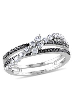 0.5 CT Black & White Diamond Fashion Ring In 14k White Gold
