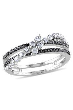 Black & White Diamond Ring In 14k White Gold