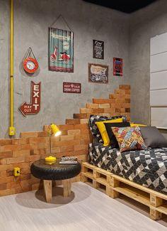 decoração de quarto jovem masculino com estilo industrial