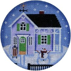 #Stitch a quick project with this winter cottage! #Needlepoint #Stitching