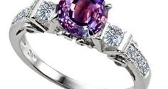 3 Stone Alexandrite Engagement Ring