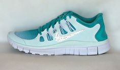 Nike Free Run shoes Mint Green Turquoise Summit White with Swarovski  crystals from HarrietHazelDesigns on Etsy. Saved to Harriet Hazel. 85b0a54428