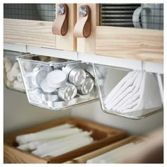 IKEA Holder for container, white. With this holder for container, you can use the space under your shelves in a smart and efficient way. The holders are flexible and can be used for both square and rectangular containers in the IKEA series. Ikea Kitchen Storage, Kitchen Ikea, Kitchen Pantry, Home Decor Kitchen, Kitchen Hacks, Home Kitchens, Kitchen Cabinets, Kitchen Makeovers, Smart Kitchen