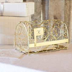 Personalized Gold Metal Scroll Gift Card Mailbox | Metals, Gold and ...