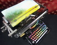 """chromatic typewriter """"Tyree Callahan has recycled (or upcycled, perhaps) a classic 1937 Underwood typewriter by replacing letters with sponges soaked across the spectrum with bright yellows, reds, blues and combinations thereof.""""  via http://phenomena.nationalgeographic.com/blog/not-exactly-rocket-science/"""
