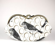 Eyewear Case/ Bird Sketch/ printed linen/ by ElevenRoosters, $30.00