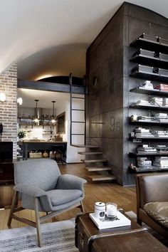Attic apartment with a visually pleasing industrial aesthetic | designed by architect Dimitar Karanikolov and interior designer Veneta Nikolova