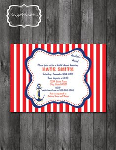Nautical Theme Bridal Shower Invitation - DIY - Printable. $12.00, via Etsy.