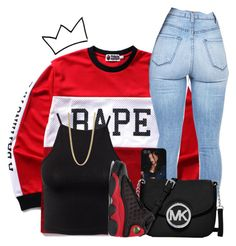 """Untitled #591"" by zayani ❤ liked on Polyvore featuring A BATHING APE, Estradeur, Marc by Marc Jacobs, MICHAEL Michael Kors and NIKE"
