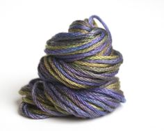 hand dyed embroidery floss, olive green, violet, $2.75