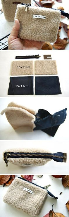 Small cosmetic pouch made of faux fur makeup bag mini wallet. http://www.handmadiya.com/2016/11/small-bag-made-of-faux-fur.html