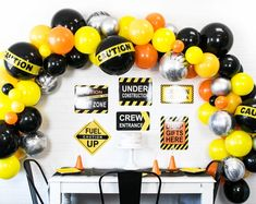 Construction Balloon Garland Kit Construction Balloon Arch Shades of Orange Yellow and Black Construction Party Decorations Construction Balloon Garland Kit Construction Balloon Arch Etsy Construction Party Decorations, Construction Birthday Parties, Birthday Party Decorations, Balloon Banner, Letter Balloons, Foil Balloons, Ballon Arch, Balloon Pump, Happy Birthday Signs