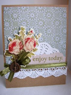 Sweet Lace(background stamp) and Enjoy Today stamps from Market Street Stamps