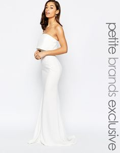 Image 1 of Jarlo Petite Blaze Strapless Maxi Dress With Overlay