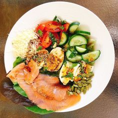 Back at it again on instragram! Heres todays lunch.  Salmon salad with #organic fresh garden lettuce  boiled eggs topped with #dukkah tomatoes cucumbers  balsamic vinaigrette and pepitas! Yum!