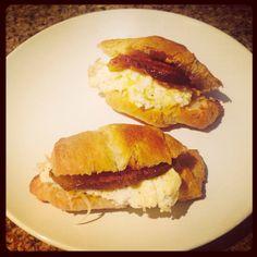 Mini egg sandwiches on croissants for brunch.