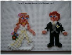 Wedding couple hama perler beads by Laura Hama Beads