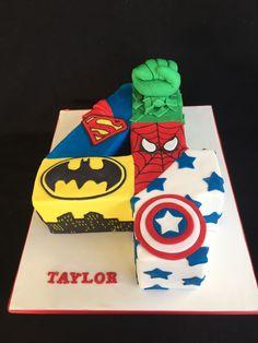 Avengers, Superman, Batman, the Hulk, Spiderman and Captain America cake