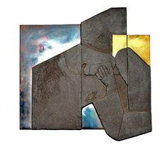 6ème station du chemin de croix de Bossonens Charles Cottet avec la participation de Yves Leroy céramiste Art, Signs, Nun, Crosses, Art Background, Kunst, Art Education
