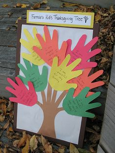 "Thanksgiving Handprint Tree...would be pretty with Psalm 107:1 - ""Give thanks to the Lord, for He is good; His love endures forever."""