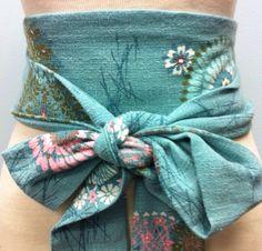 896a157d1 Vintage barkcloth aqua obi belt sash turquoise lace reversible waist cincher