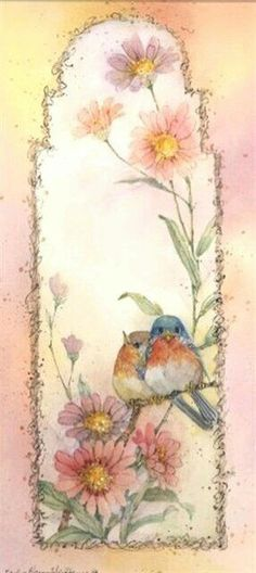 Watercolor x image plus white border on professional paper. Signed by the artist. Vintage Birds, Vintage Flowers, Watercolor Cards, Watercolor Paintings, Decoupage, Picture Postcards, China Painting, Bird Pictures, Copics