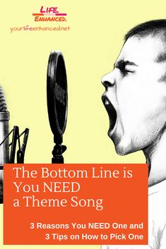 the bottom line is you need a theme song. 3 reasons you need a theme song and 3 tips for picking the right theme song for you Positive Living, Theme Song, Pick One, Are You The One, Personal Development, Life Lessons, Line, Songs, Music