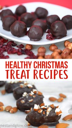 Healthy Snacks Easy healthy Christmas treat recipes that are all vegan and gluten free. Contains recipes for cranberry chocolate balls, raw mince pies, raw chocolate almond dates and spiced oat cookies. Healthy Christmas Cookies, Healthy Christmas Recipes, Christmas Food Treats, Vegan Christmas, Noel Christmas, Healthy Cookies, Christmas Desserts, Healthy Treats, Christmas Baking
