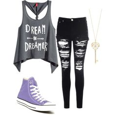 dreamy by skrillexgirl on Polyvore featuring polyvore fashion style H&M Glamorous Converse