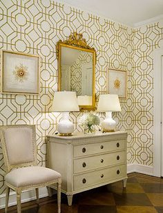 """Metallic gold with white is so clean and fresh!  Sandra Morgan Interiors -  """"great art/frame choice to go on patterned wallpaper"""" AAtF"""