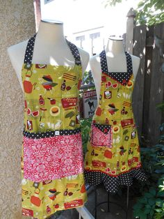 Summer BBQ Apron Women Lime Green Red Black by ArtyApronsAndSuch