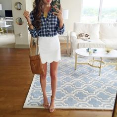OOTD - Plaid Button Up & White Scalloped Mini Bodycon Skirt, Accessorized w/ a monogrammed necklace